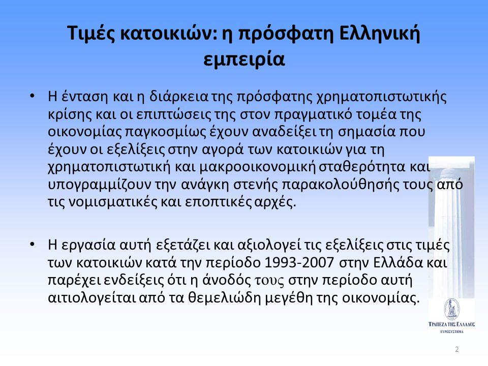 Τιμές κατοικιών: η πρόσφατη Ελληνική εμπειρία