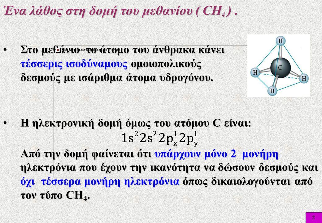 Ένα λάθος στη δομή του μεθανίου ( CΗ4 ) .