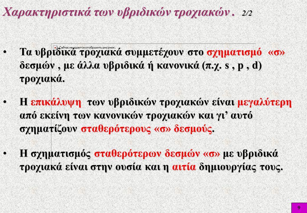 Χαρακτηριστικά των υβριδικών τροχιακών . 2/2