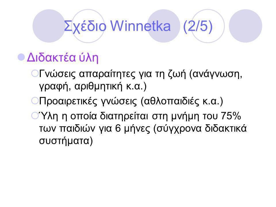 Σχέδιο Winnetka (2/5) Διδακτέα ύλη