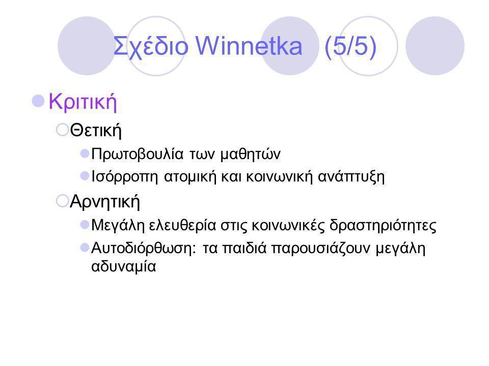 Σχέδιο Winnetka (5/5) Κριτική Θετική Αρνητική Πρωτοβουλία των μαθητών