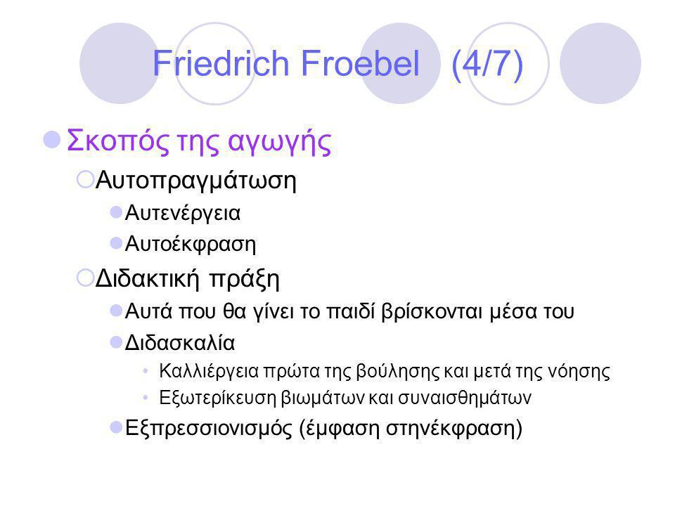 Friedrich Froebel (4/7) Σκοπός της αγωγής Αυτοπραγμάτωση