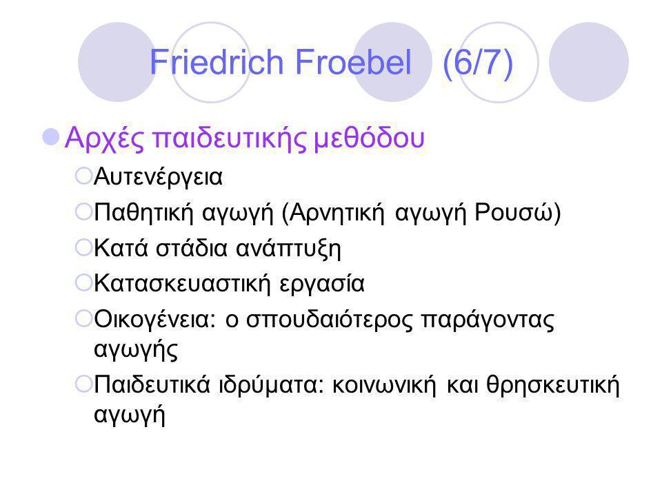 Friedrich Froebel (6/7) Αρχές παιδευτικής μεθόδου Αυτενέργεια