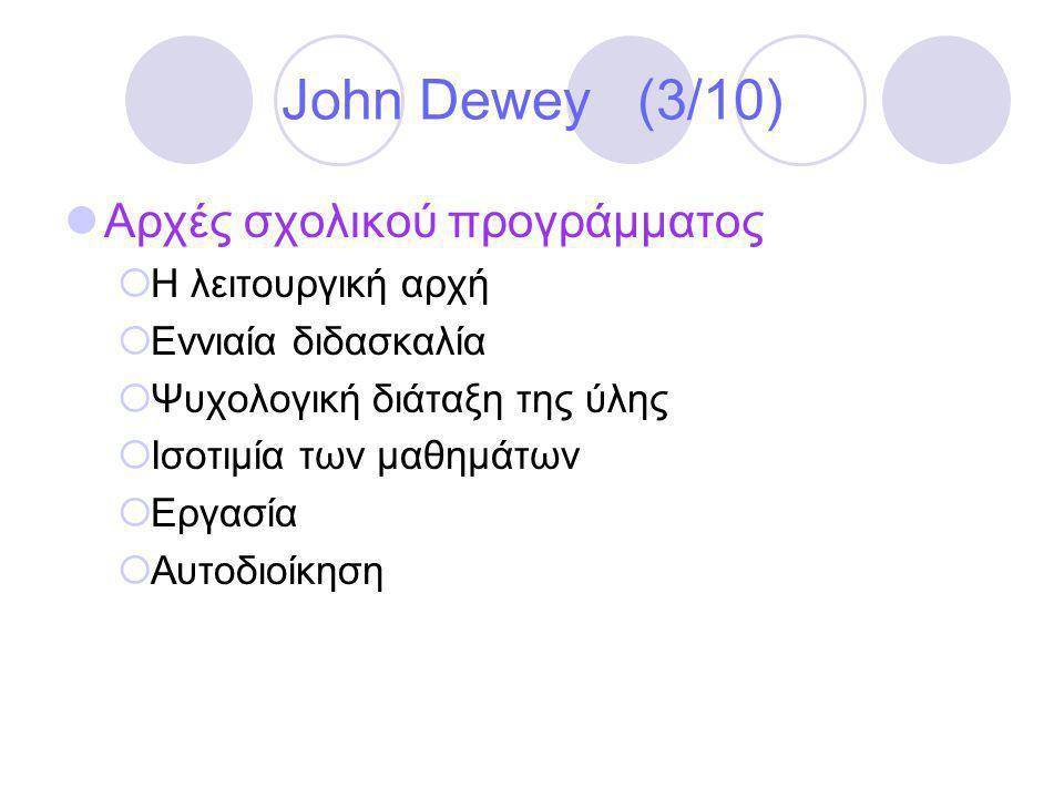 John Dewey (3/10) Αρχές σχολικού προγράμματος Η λειτουργική αρχή