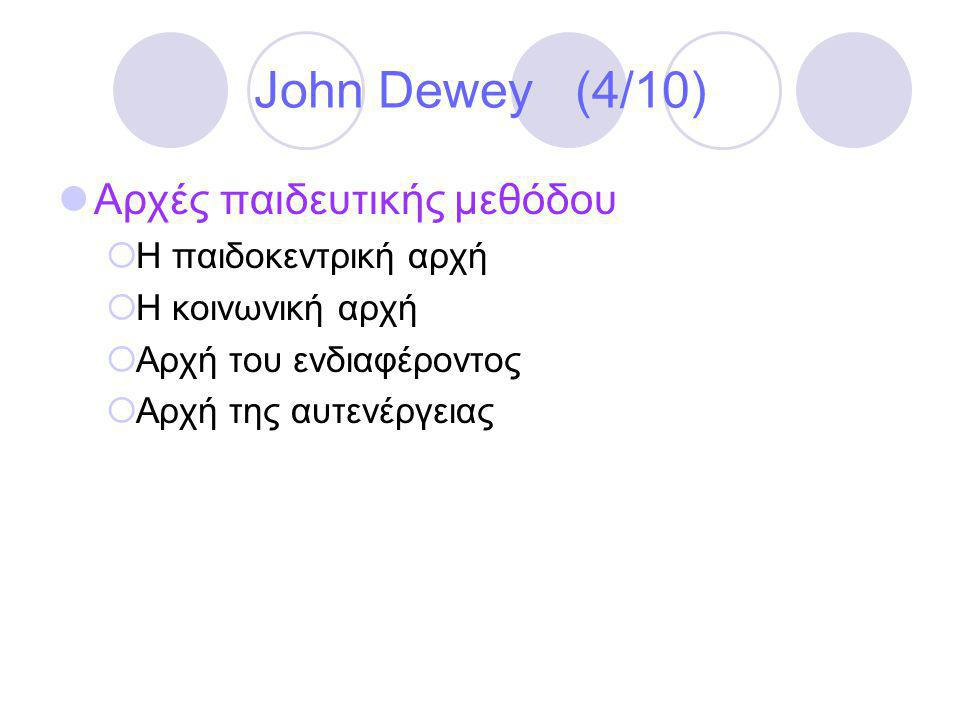 John Dewey (4/10) Αρχές παιδευτικής μεθόδου Η παιδοκεντρική αρχή