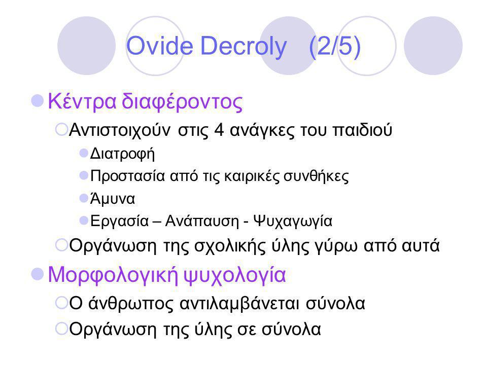 Ovide Decroly (2/5) Κέντρα διαφέροντος Μορφολογική ψυχολογία