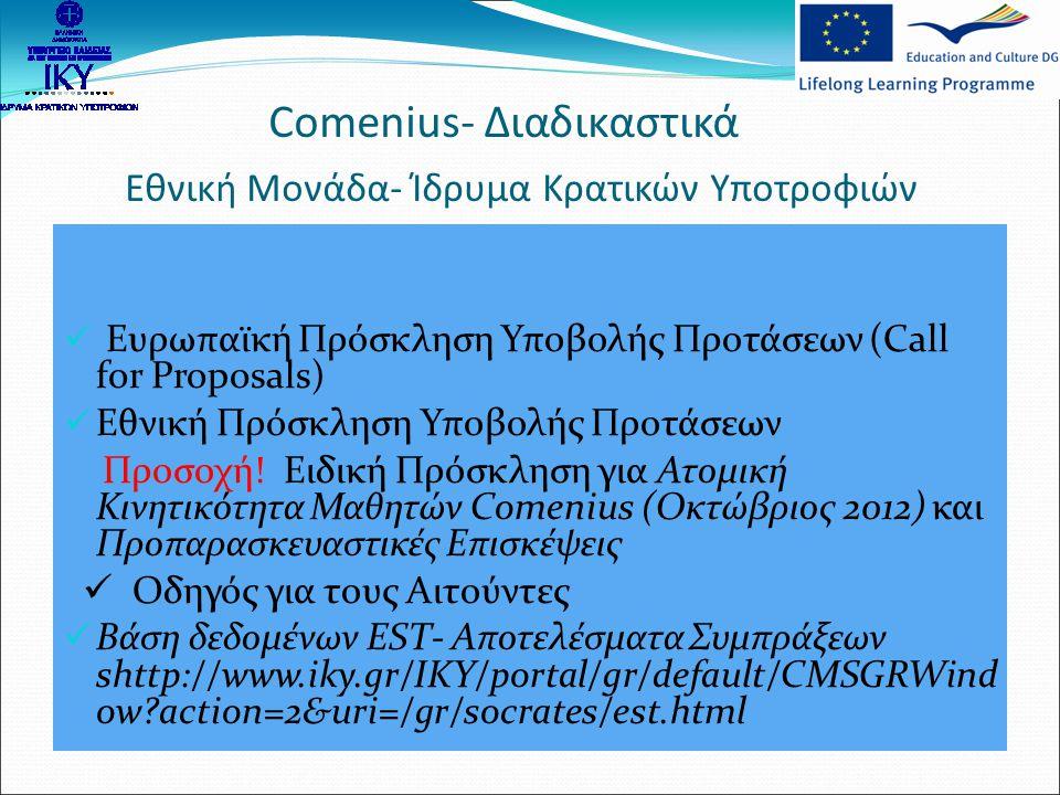 Comenius- Διαδικαστικά Εθνική Μονάδα- Ίδρυμα Κρατικών Υποτροφιών