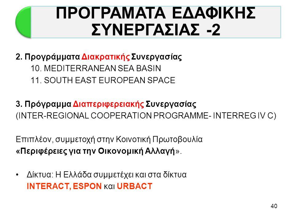 ΠΡΟΓΡΑΜΑΤΑ ΕΔΑΦΙΚΗΣ ΣΥΝΕΡΓΑΣΙΑΣ -2