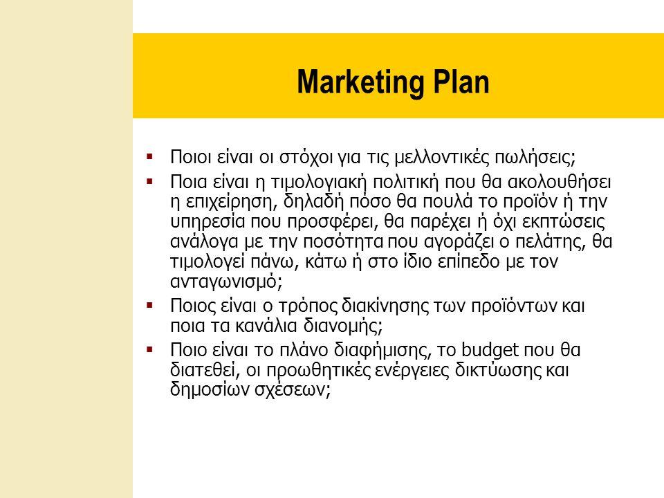 Marketing Plan Ποιοι είναι οι στόχοι για τις μελλοντικές πωλήσεις;