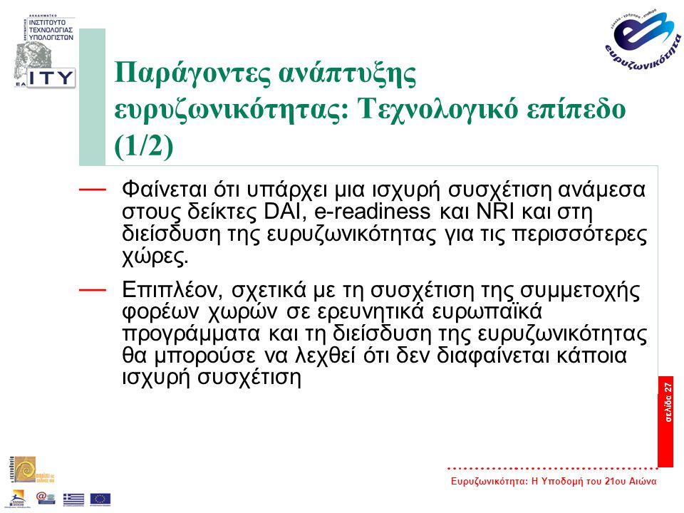 Παράγοντες ανάπτυξης ευρυζωνικότητας: Τεχνολογικό επίπεδο (1/2)