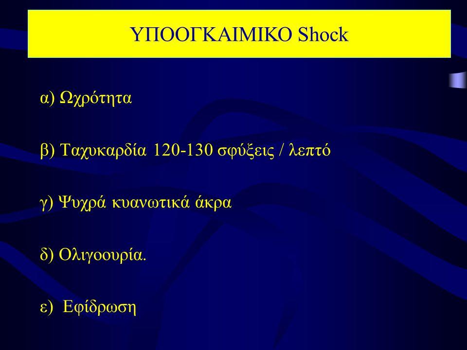 ΥΠΟΟΓΚΑΙΜΙΚΟ Shock α) Ωχρότητα β) Ταχυκαρδία 120-130 σφύξεις / λεπτό