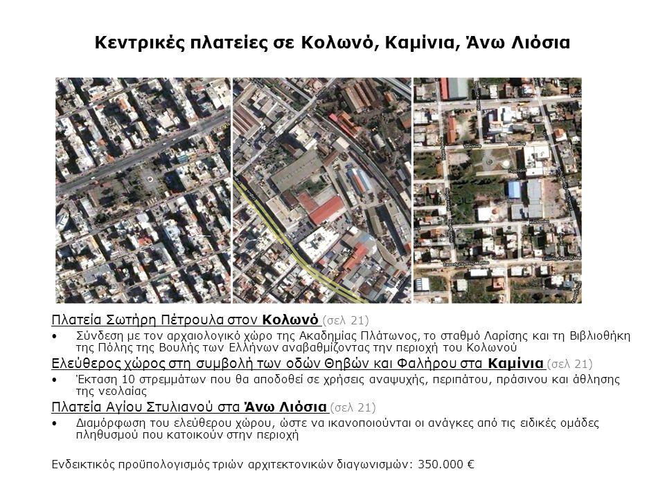 Κεντρικές πλατείες σε Κολωνό, Καμίνια, Άνω Λιόσια