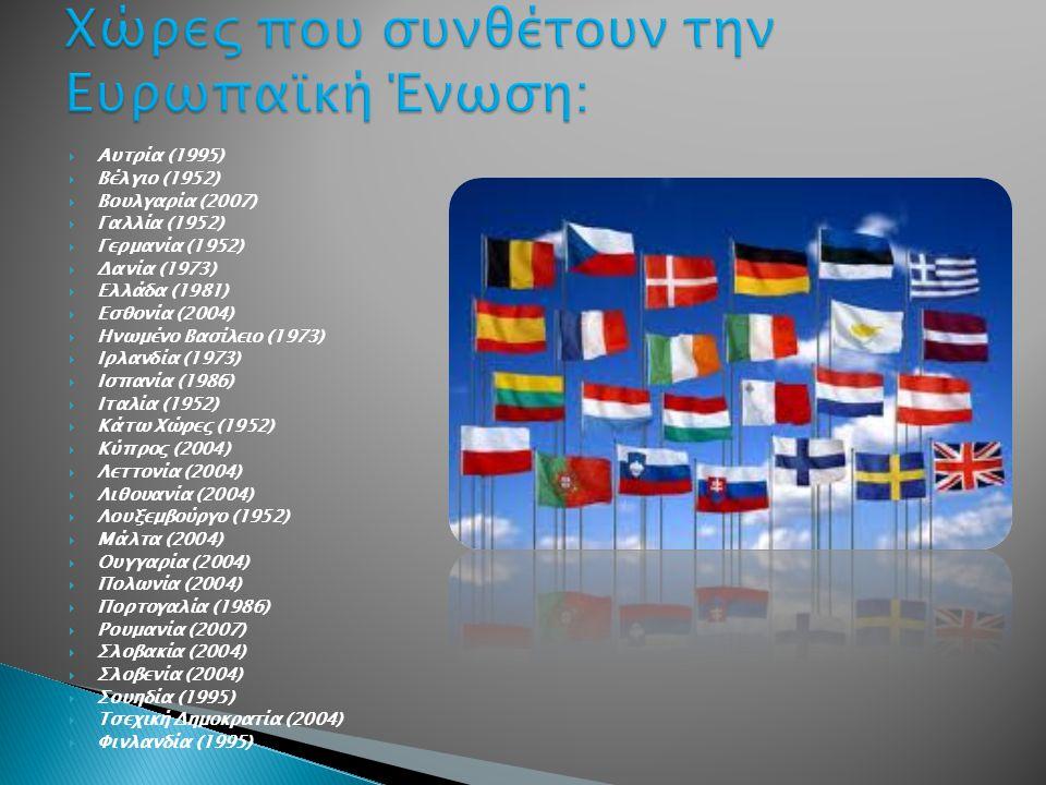Χώρες που συνθέτουν την Ευρωπαϊκή Ένωση:
