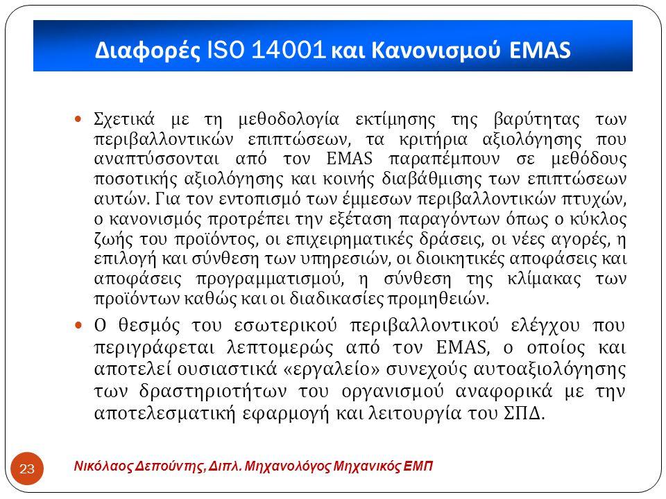 Διαφορές ISO 14001 και Κανονισμού EMAS