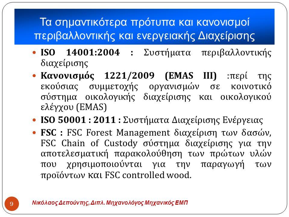 Τα σημαντικότερα πρότυπα και κανονισμοί περιβαλλοντικής και ενεργειακής Διαχείρισης