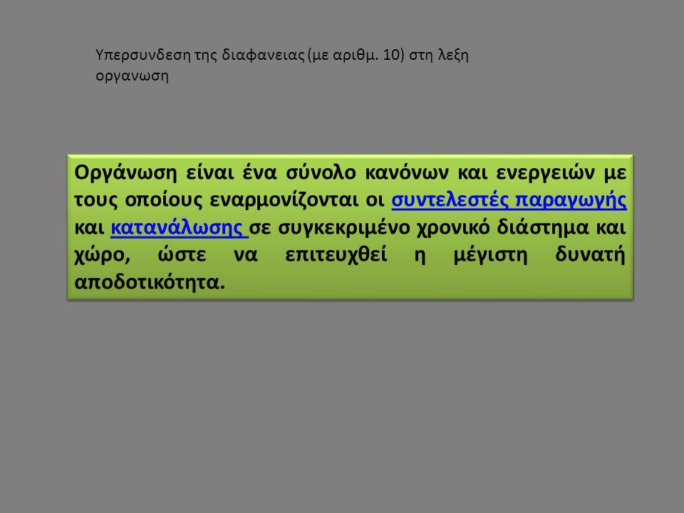 Υπερσυνδεση της διαφανειας (με αριθμ. 10) στη λεξη οργανωση