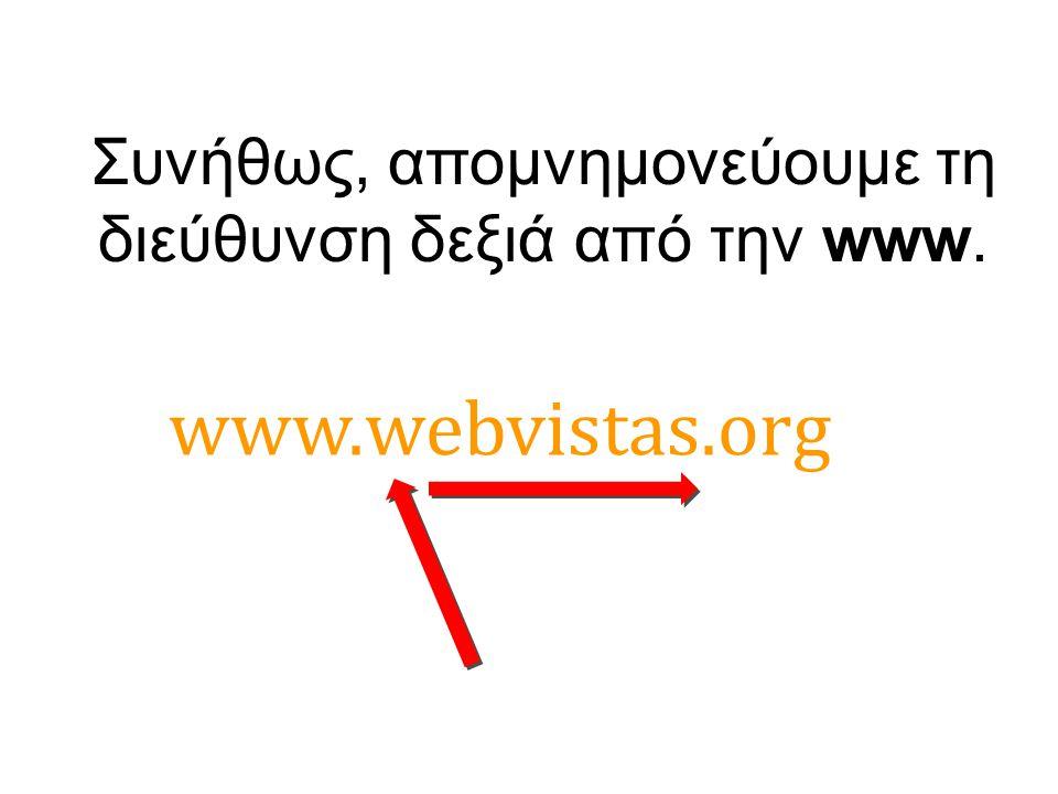 Συνήθως, απομνημονεύουμε τη διεύθυνση δεξιά από την www.