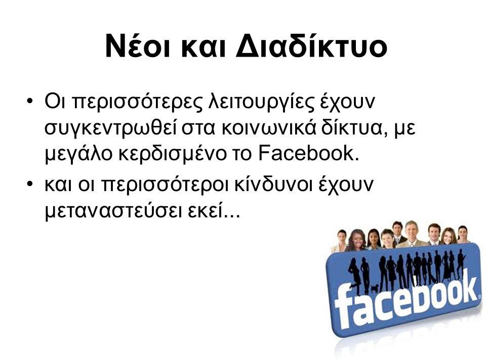 Νέοι και Διαδίκτυο Οι περισσότερες λειτουργίες έχουν συγκεντρωθεί στα κοινωνικά δίκτυα, με μεγάλο κερδισμένο το Facebook.