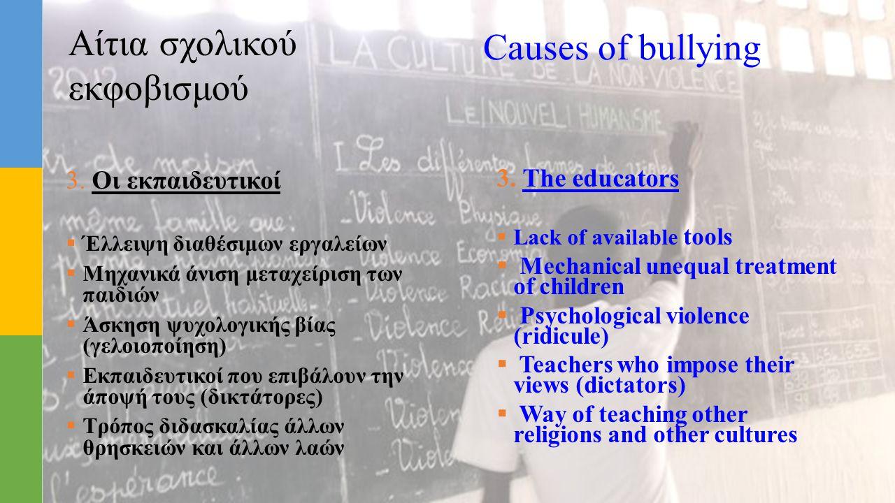 Αίτια σχολικού εκφοβισμού