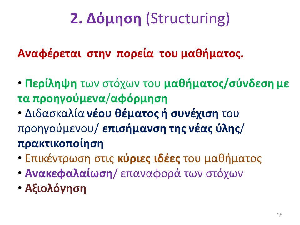 2. Δόμηση (Structuring) Αναφέρεται στην πορεία του μαθήματος.