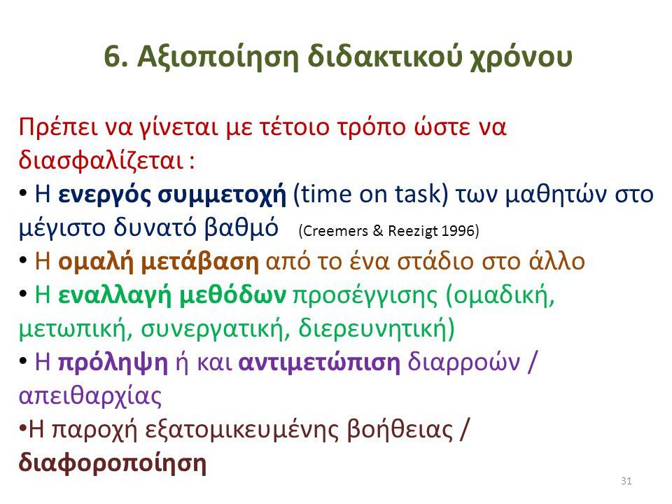 6. Αξιοποίηση διδακτικού χρόνου