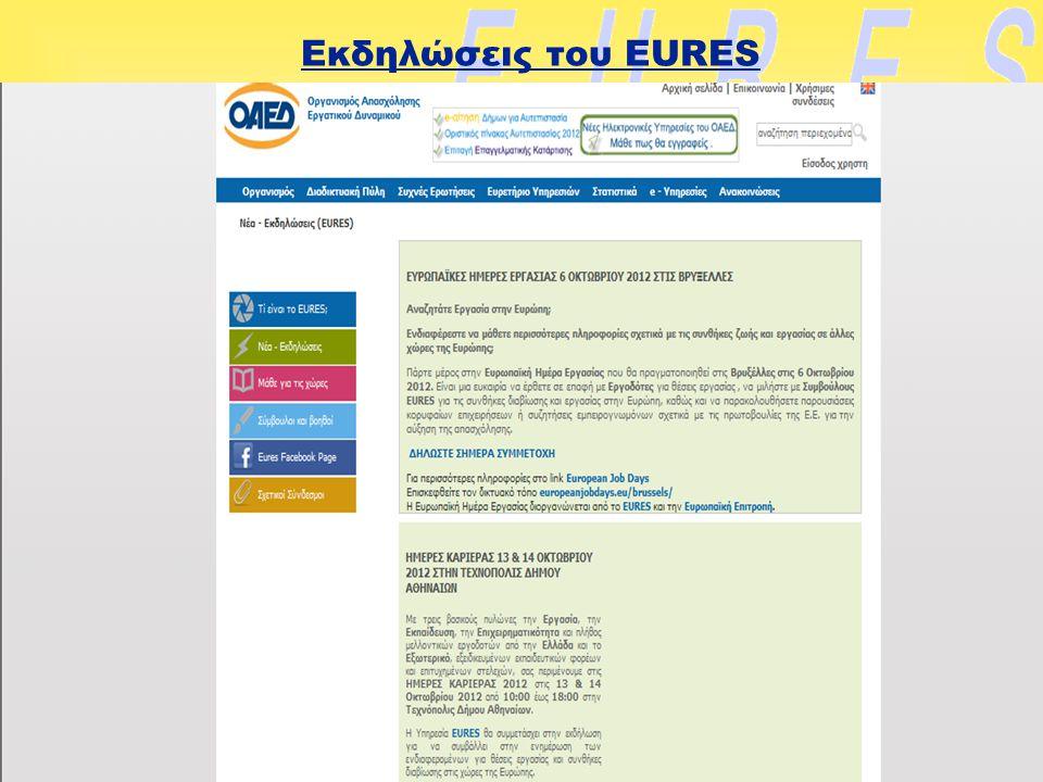 Εκδηλώσεις του EURES