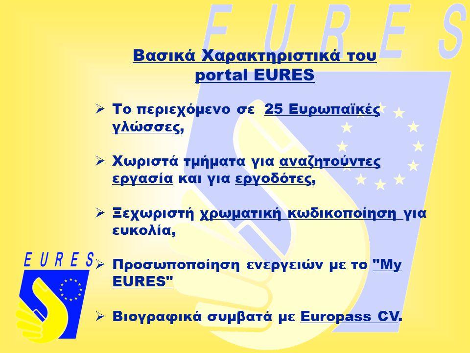 Βασικά Χαρακτηριστικά του portal EURES