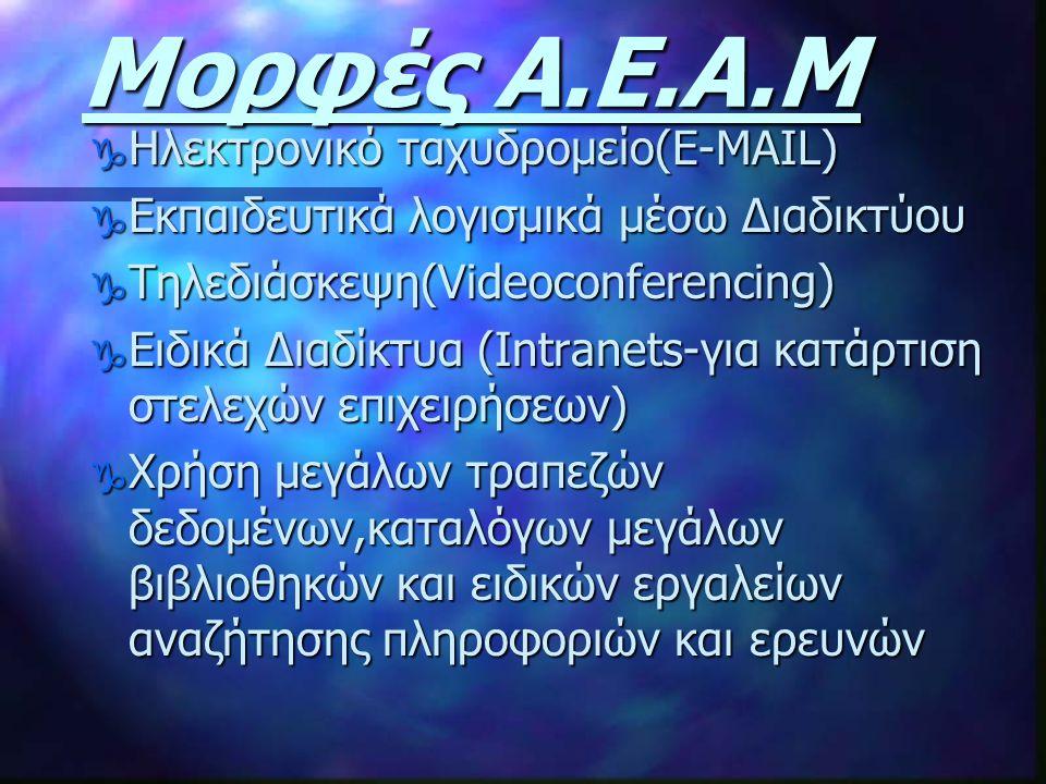 Μορφές Α.Ε.Α.Μ Ηλεκτρονικό ταχυδρομείο(E-MAIL)