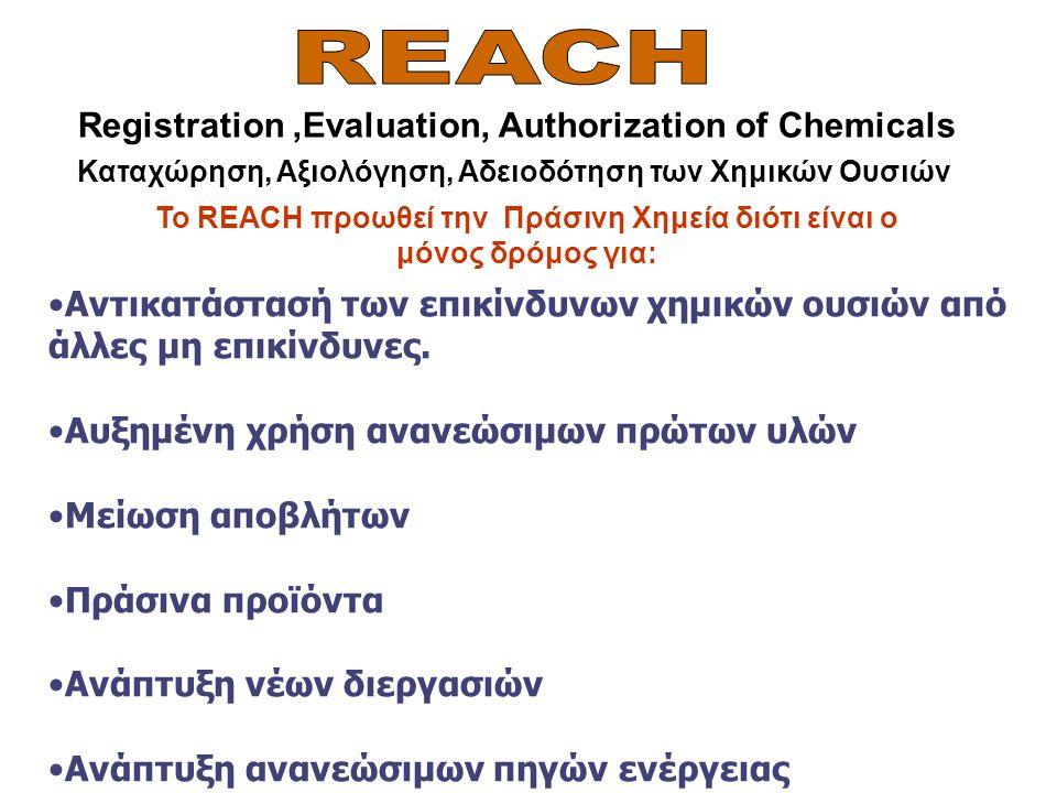 Το REACH προωθεί την Πράσινη Χημεία διότι είναι ο μόνος δρόμος για: