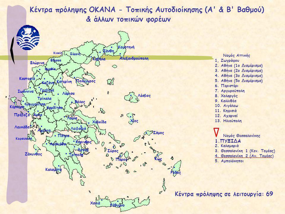 Κέντρα πρόληψης ΟΚΑΝΑ - Τοπικής Αυτοδιοίκησης (Α & Β Βαθμού)