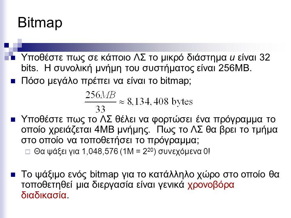 Bitmap Υποθέστε πως σε κάποιο ΛΣ το μικρό διάστημα u είναι 32 bits. Η συνολική μνήμη του συστήματος είναι 256ΜΒ.