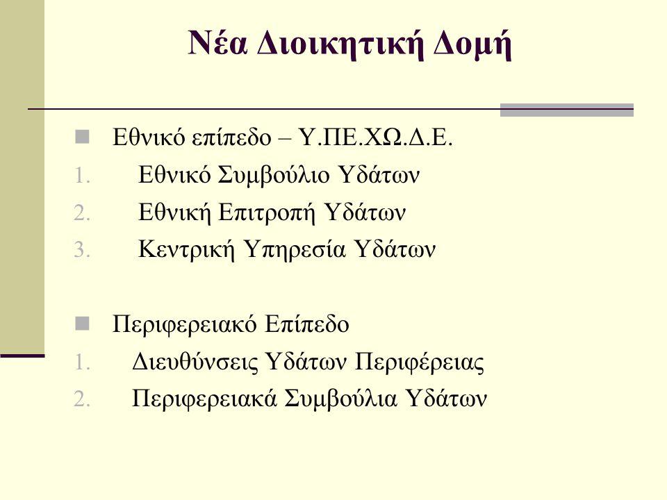 Νέα Διοικητική Δομή Εθνικό επίπεδο – Υ.ΠΕ.ΧΩ.Δ.Ε.