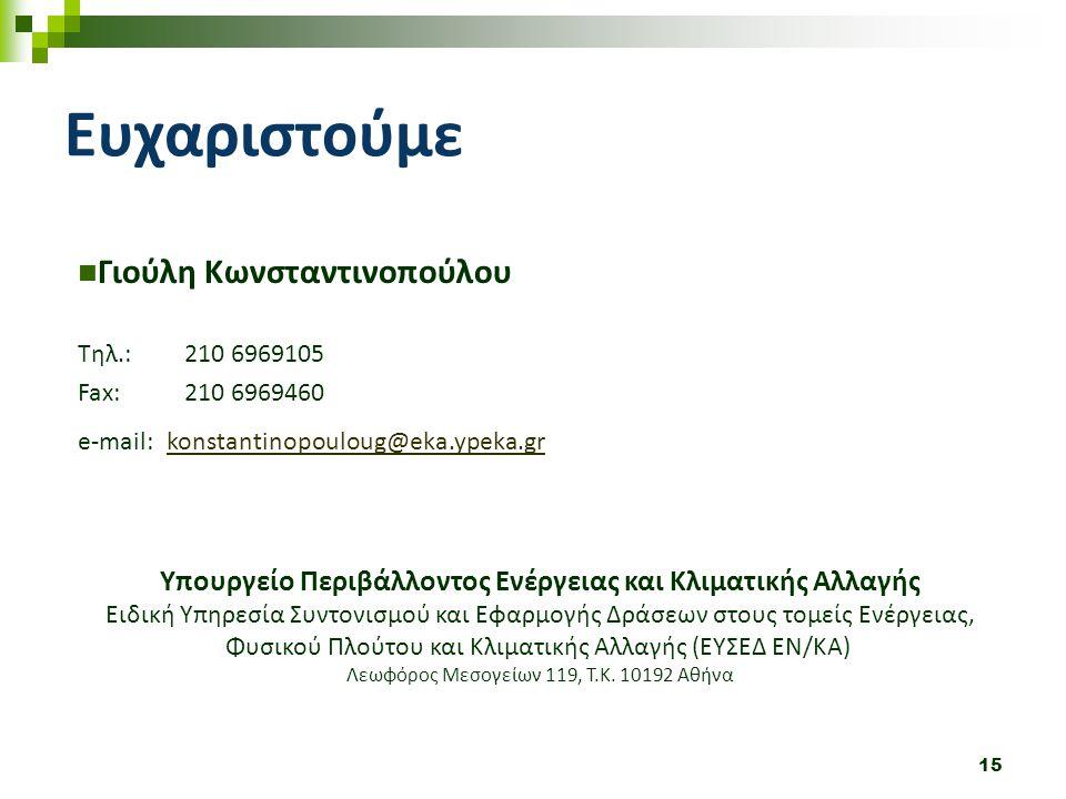 Ευχαριστούμε Γιούλη Κωνσταντινοπούλου