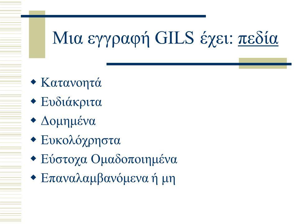 Μια εγγραφή GILS έχει: πεδία