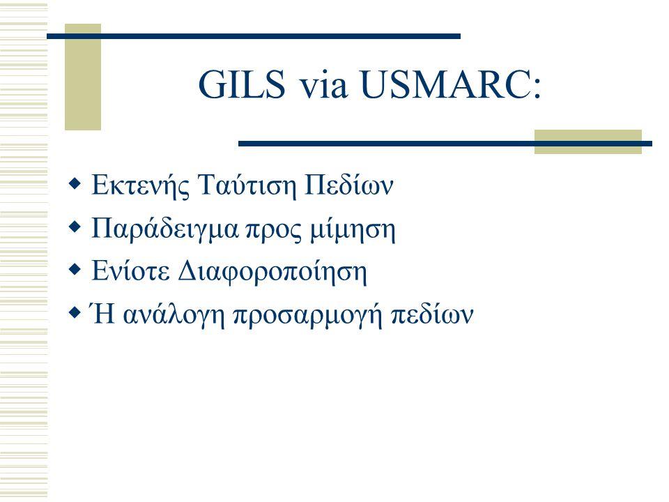 GILS via USMARC: Εκτενής Ταύτιση Πεδίων Παράδειγμα προς μίμηση