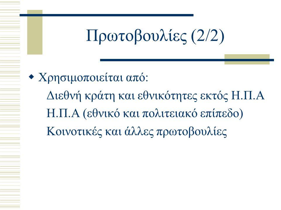 Πρωτοβουλίες (2/2) Χρησιμοποιείται από: