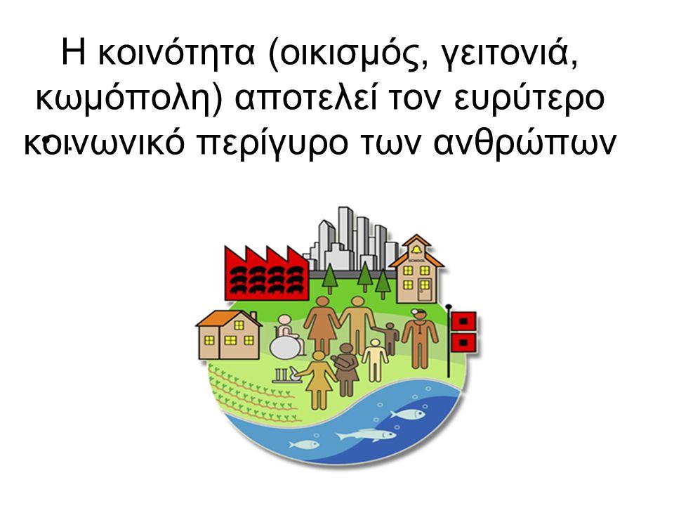 Η κοινότητα (οικισµός, γειτονιά, κωμόπολη) αποτελεί τον ευρύτερο κοινωνικό περίγυρο των ανθρώπων