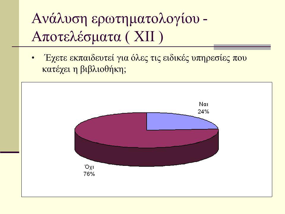 Ανάλυση ερωτηματολογίου - Αποτελέσματα ( XII )