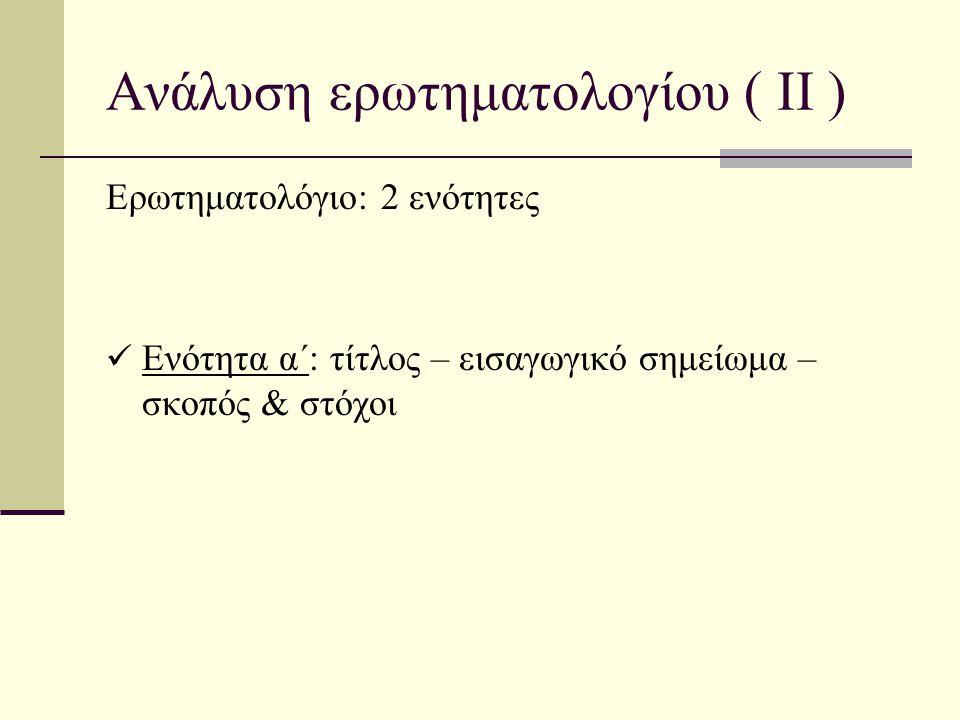 Ανάλυση ερωτηματολογίου ( ΙΙ )