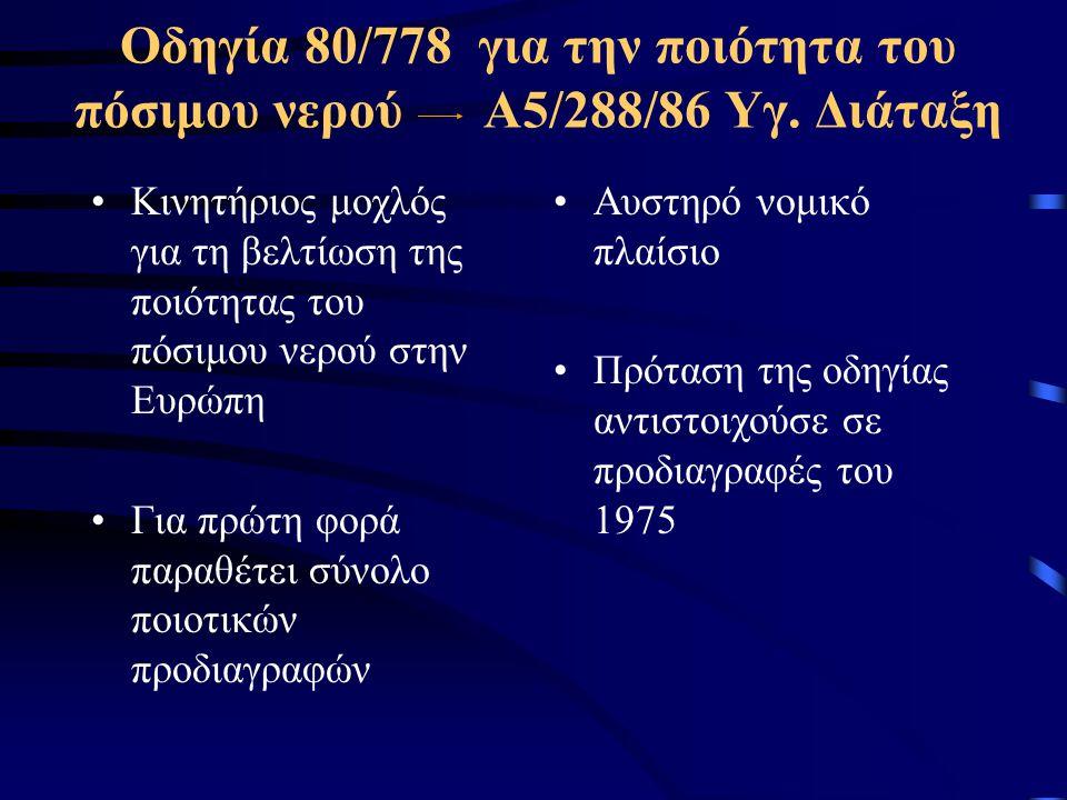 Οδηγία 80/778 για την ποιότητα του πόσιμου νερού Α5/288/86 Υγ. Διάταξη
