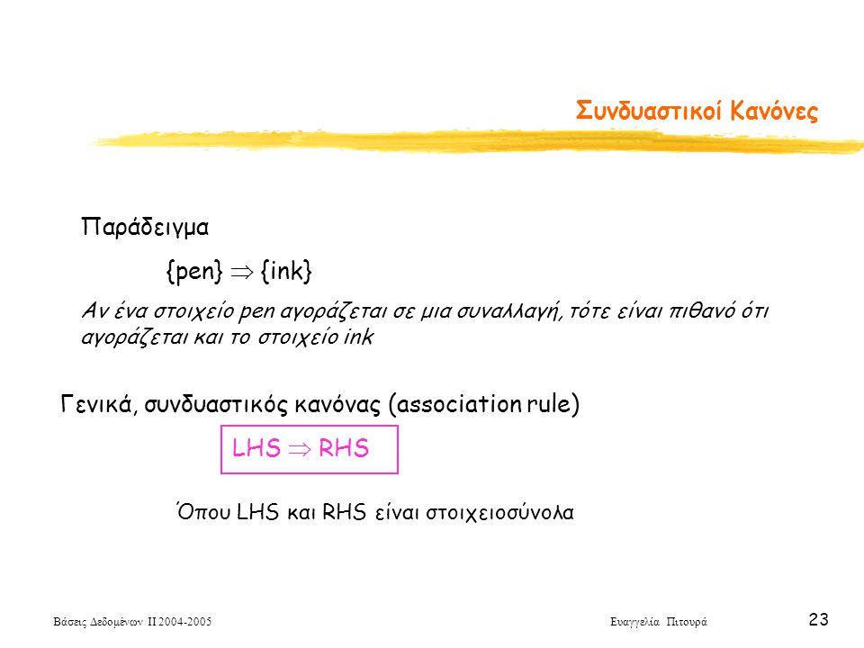 Γενικά, συνδυαστικός κανόνας (association rule) LHS  RHS