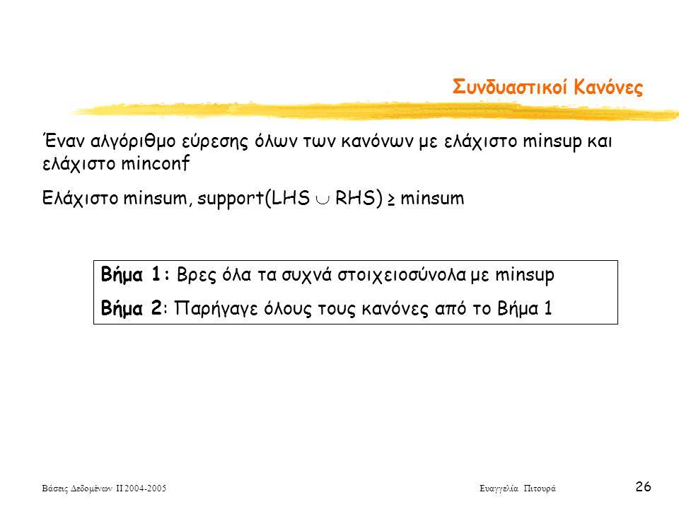 Συνδυαστικοί Κανόνες Έναν αλγόριθμο εύρεσης όλων των κανόνων με ελάχιστο minsup και ελάχιστο minconf.