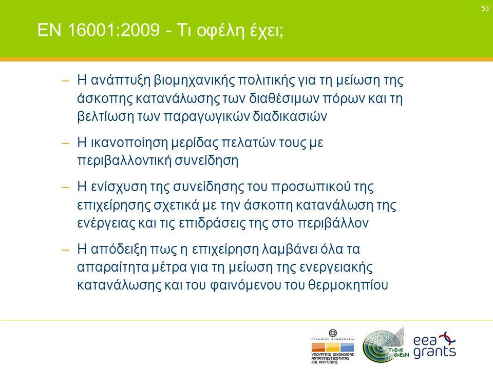 EN 16001:2009 - Τι οφέλη έχει;