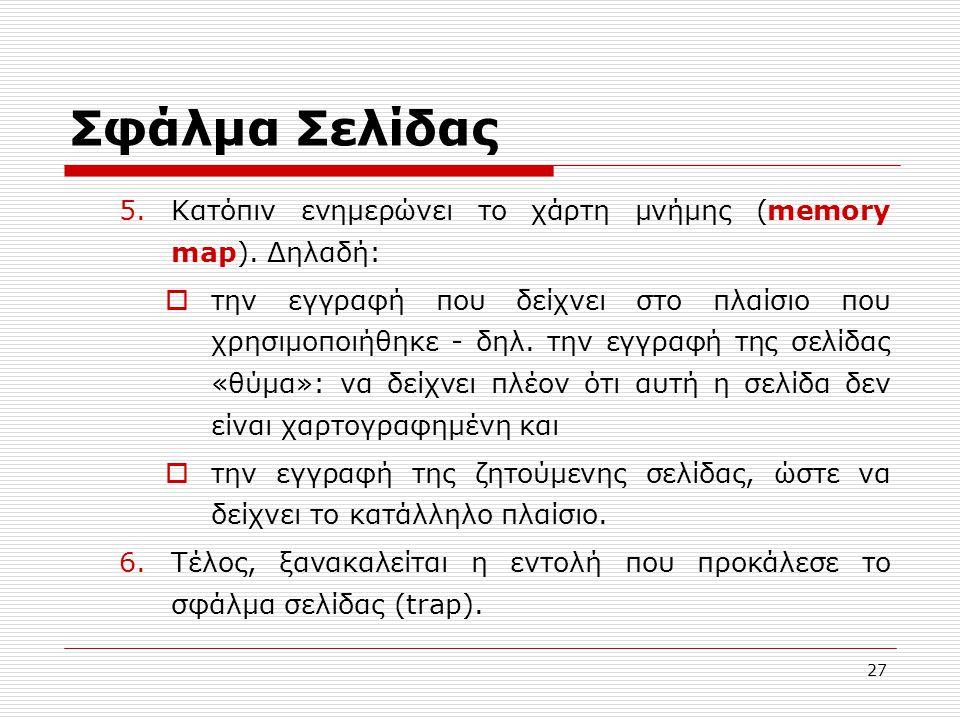 Σφάλμα Σελίδας Κατόπιν ενημερώνει το χάρτη μνήμης (memory map). Δηλαδή: