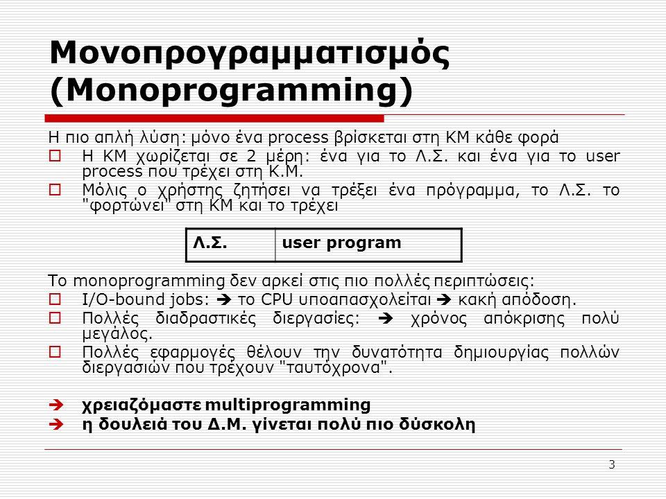 Μονοπρογραμματισμός (Monoprogramming)