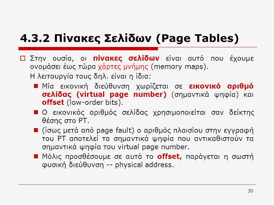 4.3.2 Πίνακες Σελίδων (Page Tables)