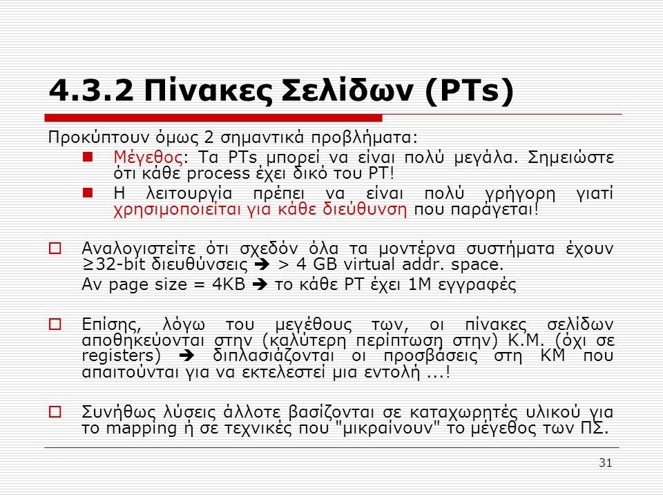 4.3.2 Πίνακες Σελίδων (PTs) Προκύπτουν όμως 2 σημαντικά προβλήματα:
