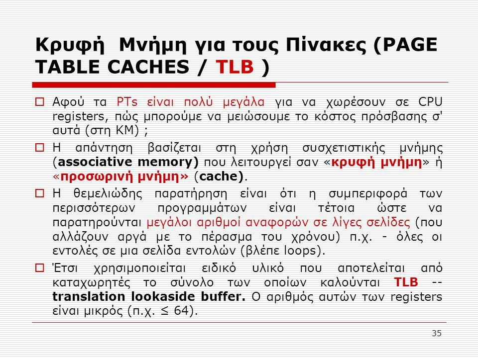 Κρυφή Μνήμη για τους Πίνακες (PAGE TABLE CACHES / TLB )