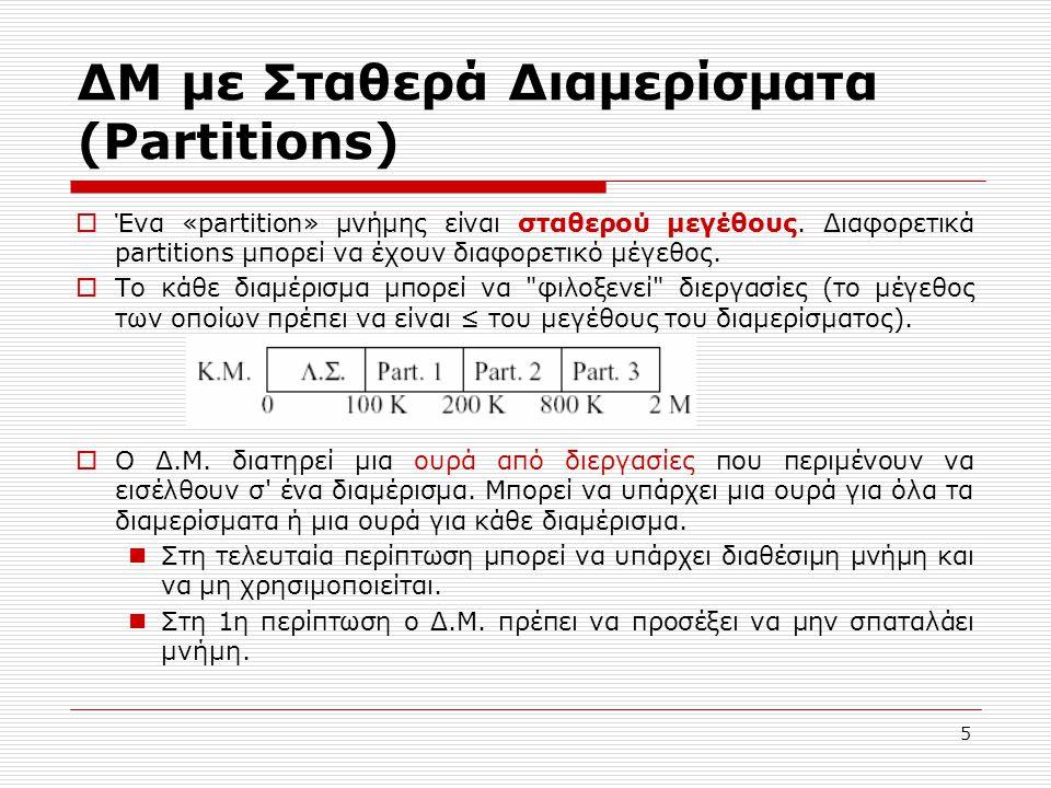 ΔΜ με Σταθερά Διαμερίσματα (Partitions)