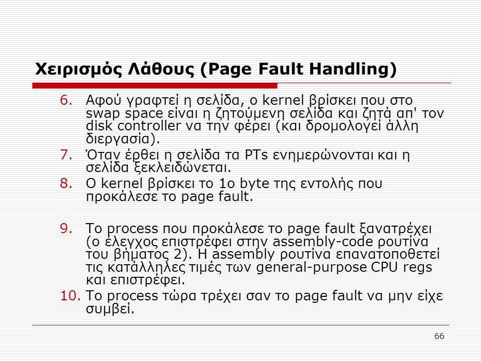 Χειρισμός Λάθους (Page Fault Ηandling)